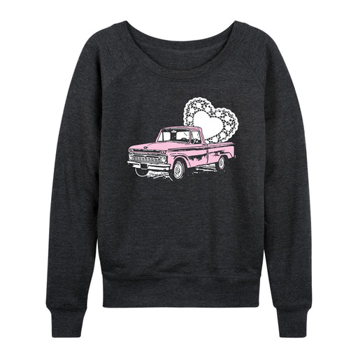 Pink Truck With Doily Heart - Women's Slouchy