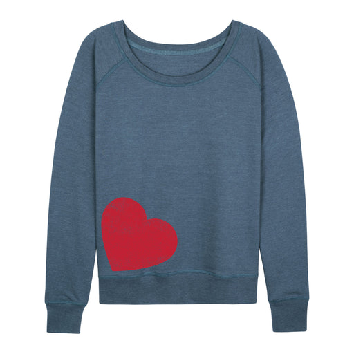 Red Distressed Heart - Women's Slouchy