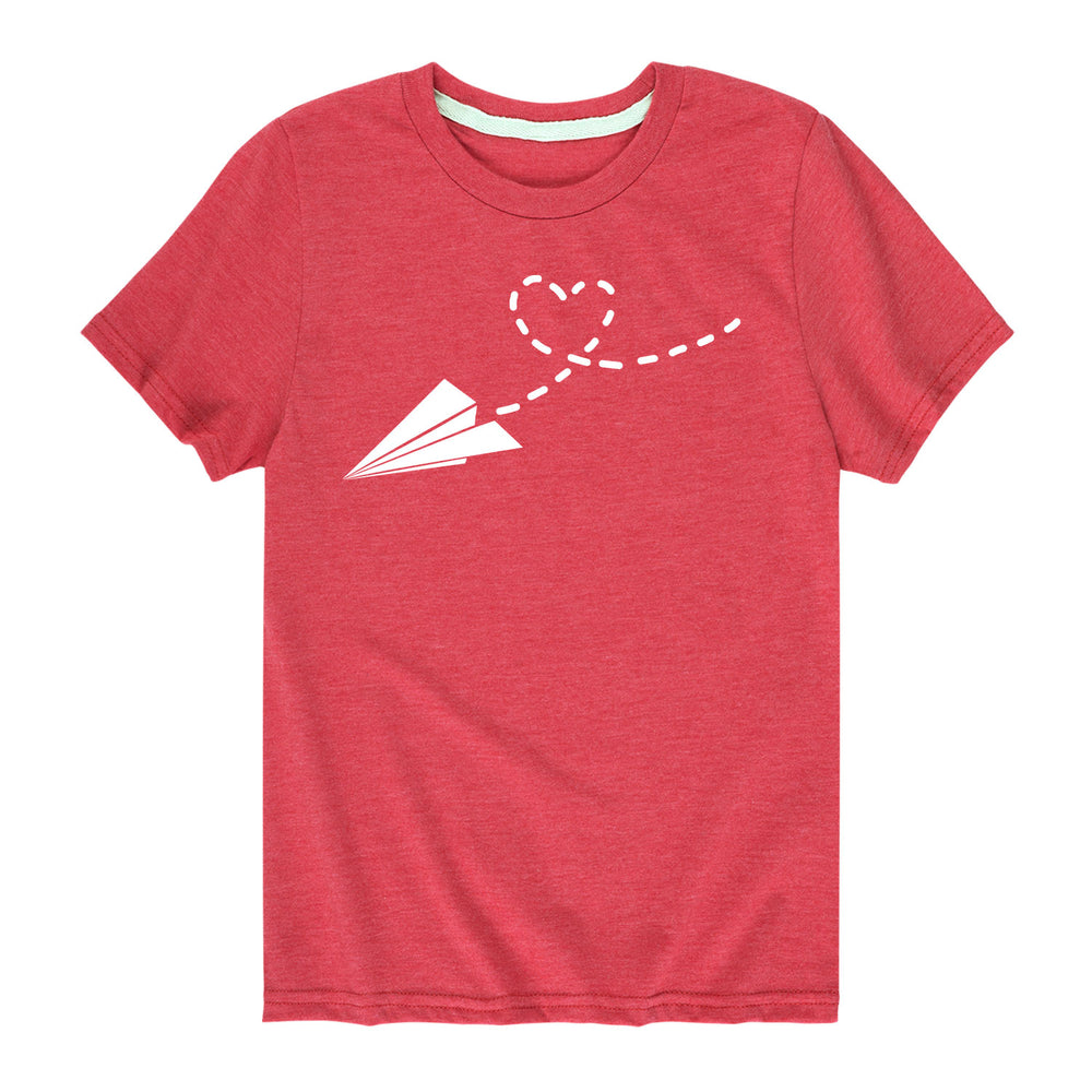 Paper Airplane Heart - Youth & Toddler Short Sleeve T-Shirt