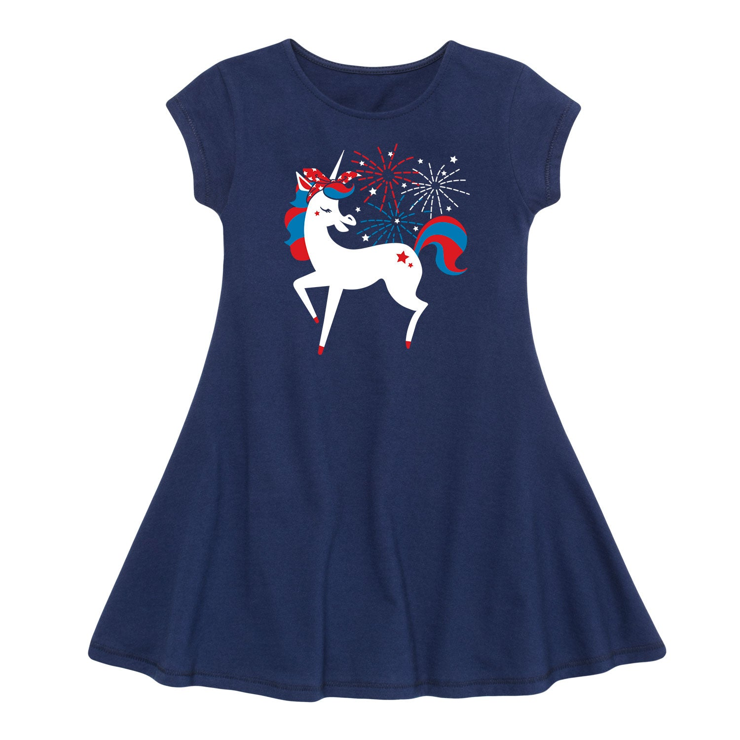 Americana Unicorn - Toddler Girl Fit And Flare Dress