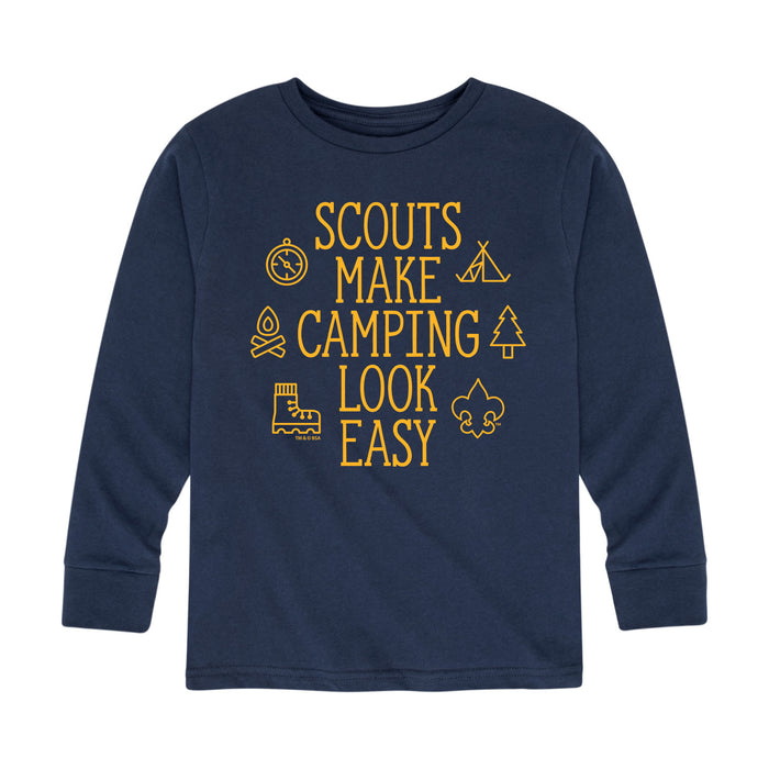 Scouts BSA - Scouts Make Camping Look Easy - Youth Long Sleeve T-Shirt