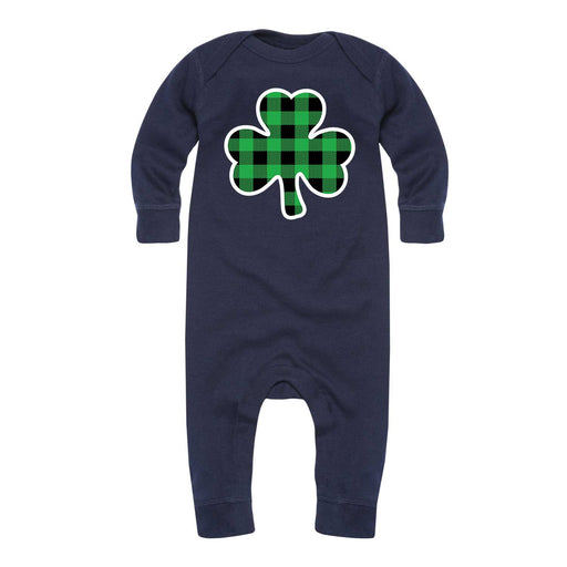 Green Plaid Shamrock - Infant Long Sleeve One Piece