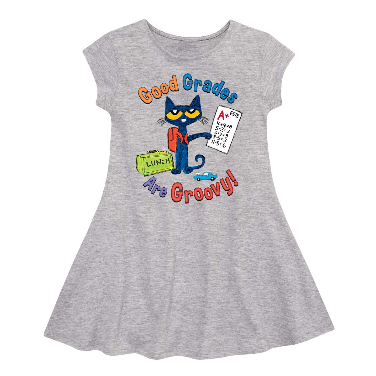 Pete The Cat Good Grades Are Groovy - Toddler Girl  Fit And Flare Dress