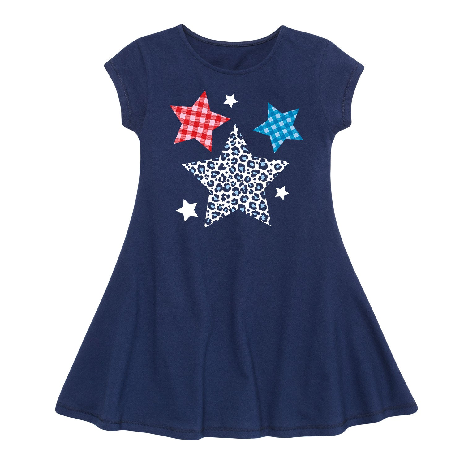 Patterned Stars - Toddler Girl Fit And Flare Dress