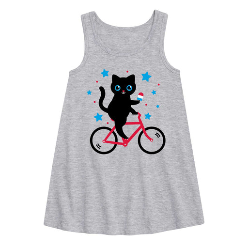 Cat On Bike Patriotic - Youth Girl A-Line Dress