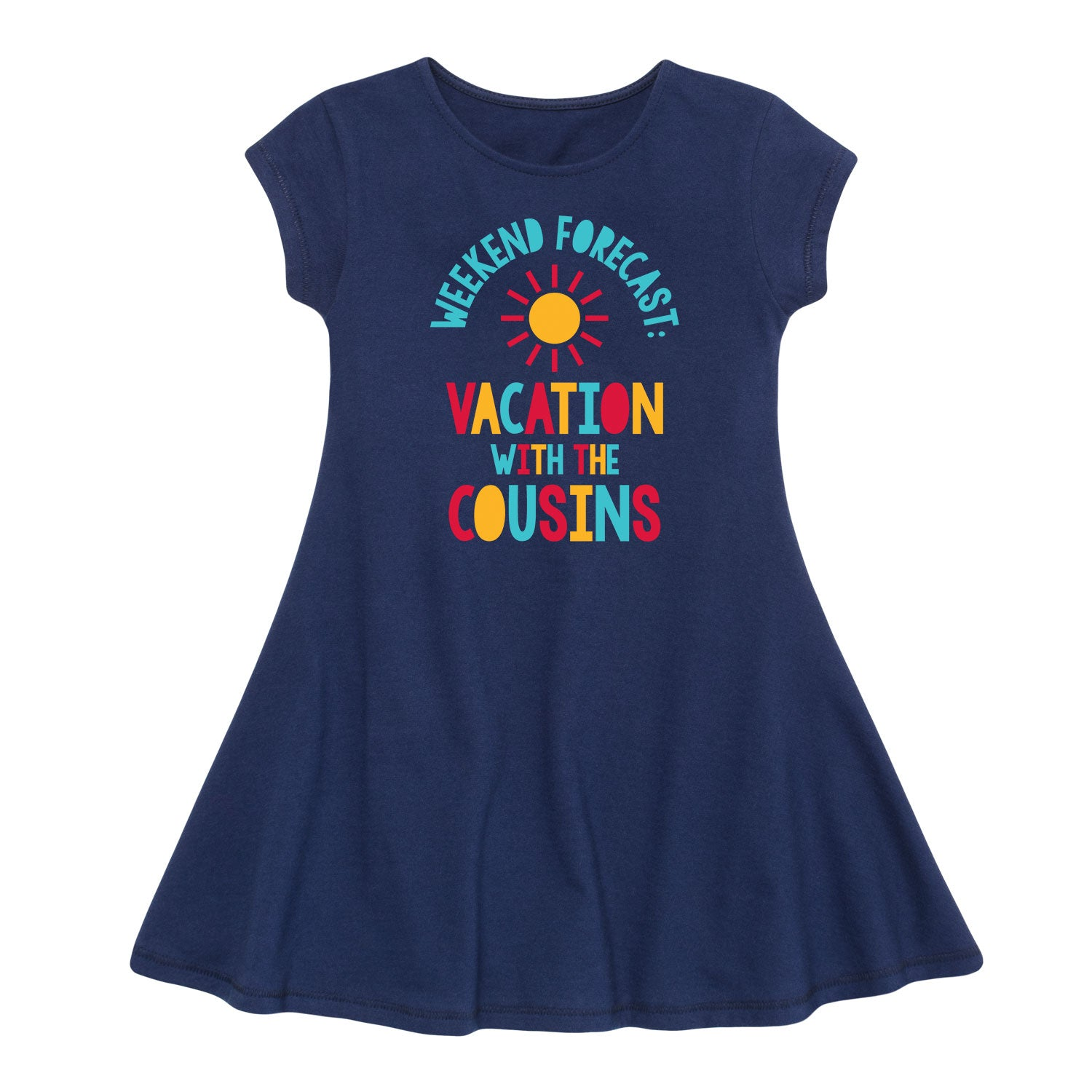 Weekend Forecast Vacation With The Cousins - Youth Girl Fit And Flare Dress