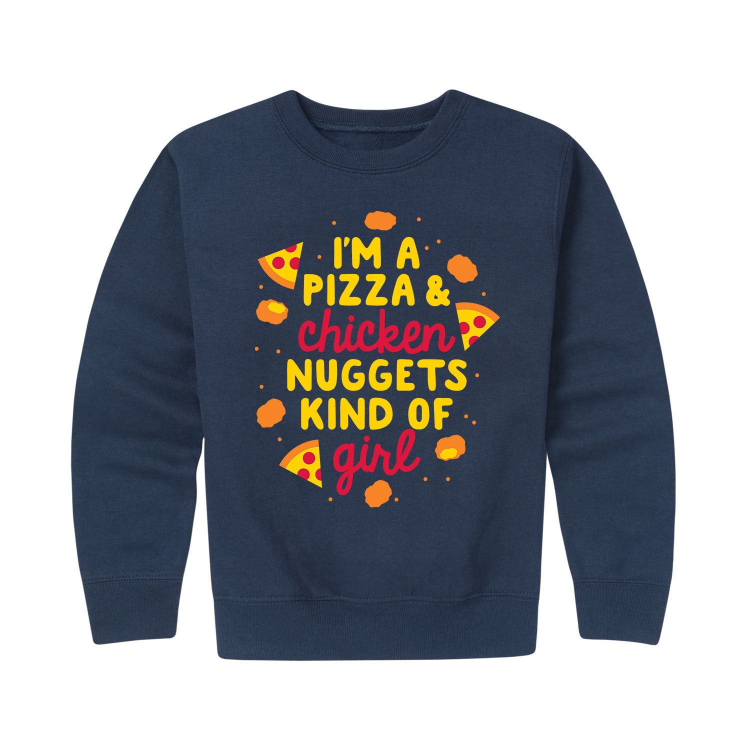 Pizza And Nuggets Girl - Youth & Toddler Girl Crew Neck Fleece