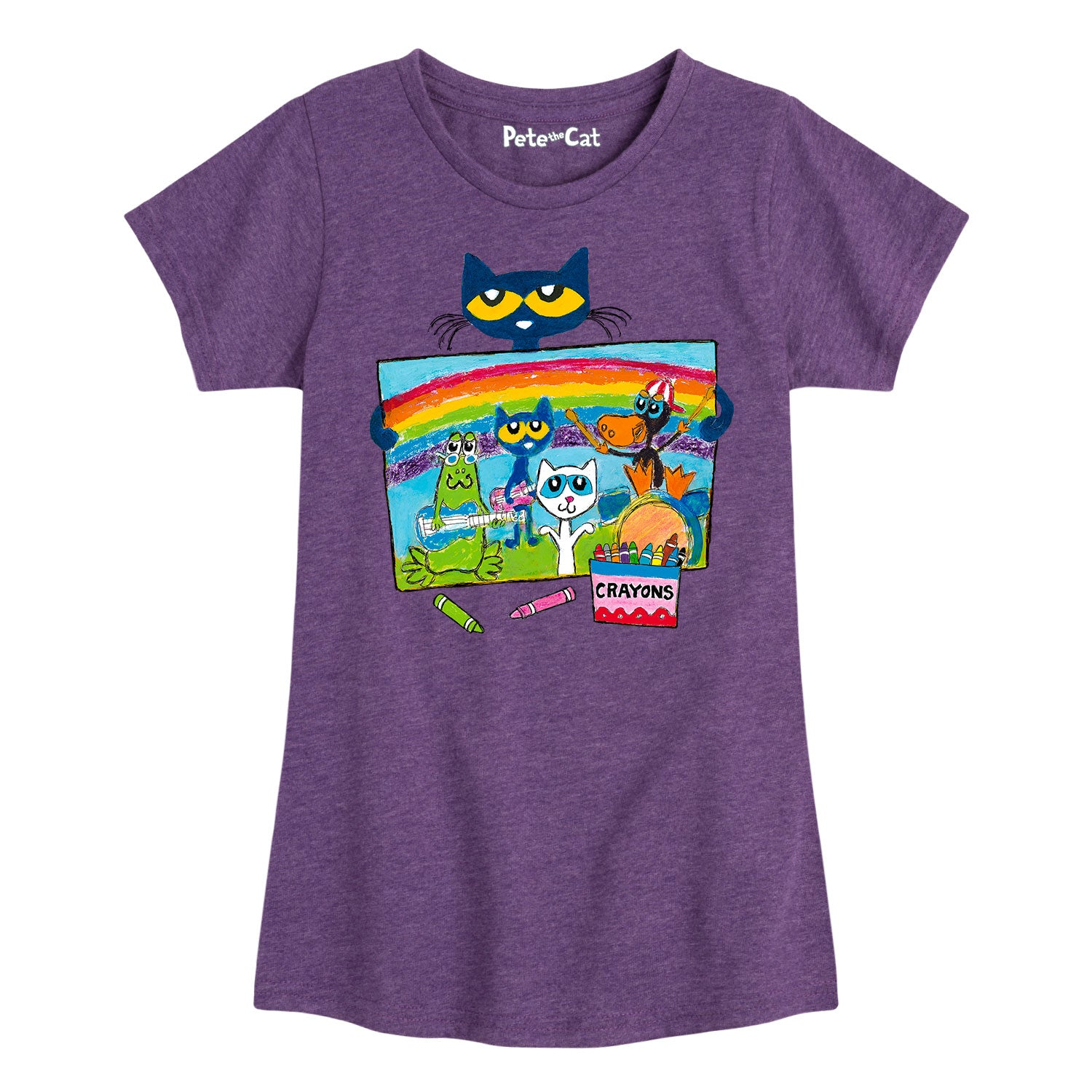 Pete Crayon Drawing - Youth & Toddler Girls Short Sleeve T-Shirt