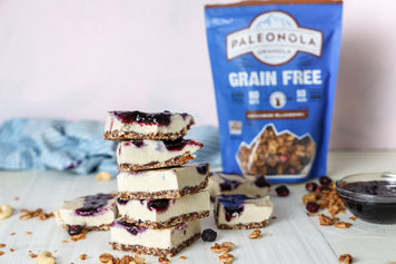 Paleonola Vegan Blueberry Cheesecake Bars