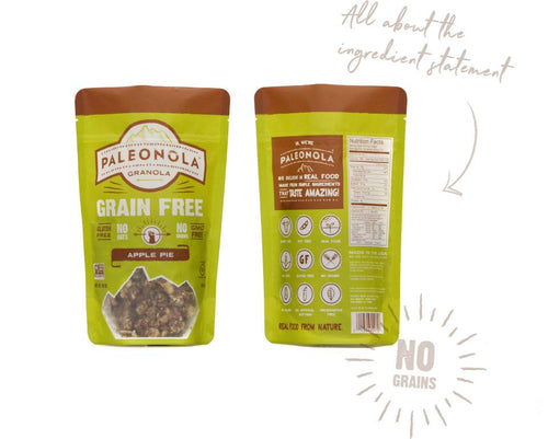 Front and rear view of Paleonola apple pie granola package