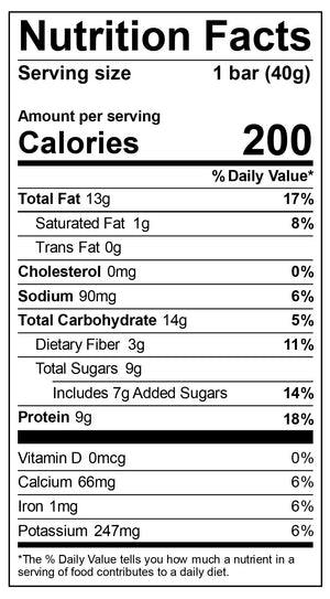 Nutritional label for Almond Butter & Jelly Bar