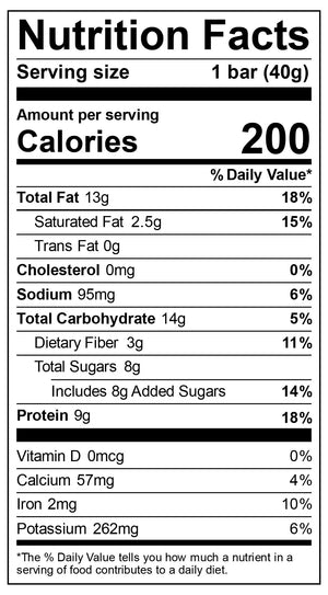 Nutritional label for Chocolate Chip Bar
