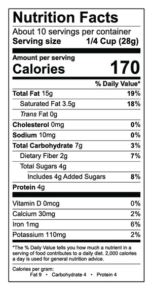 Nutritional label for The Original