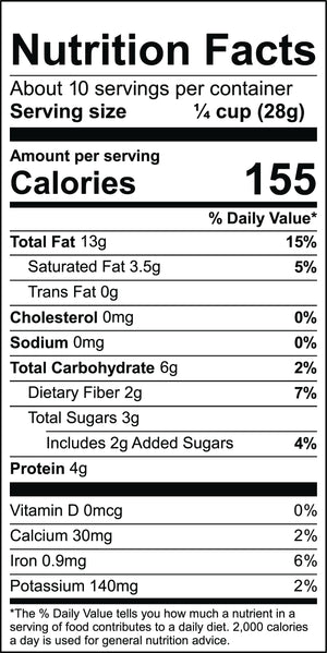 Nutritional label for Vanilla Bean