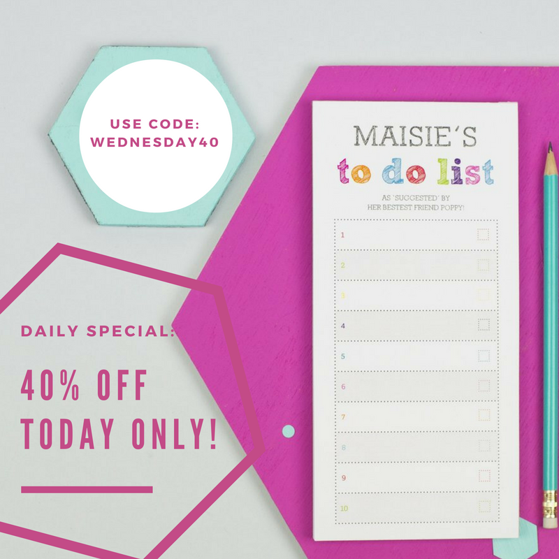 Today's Daily Deal: 40% off our Colourful To Do List Notepad – XOXO