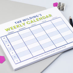 Family weekly calendar for organisation