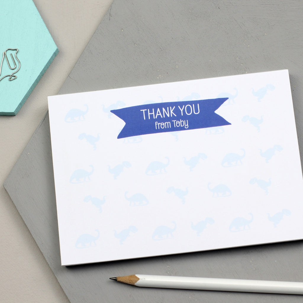 Personalised Dinosaur Thank You Notepad