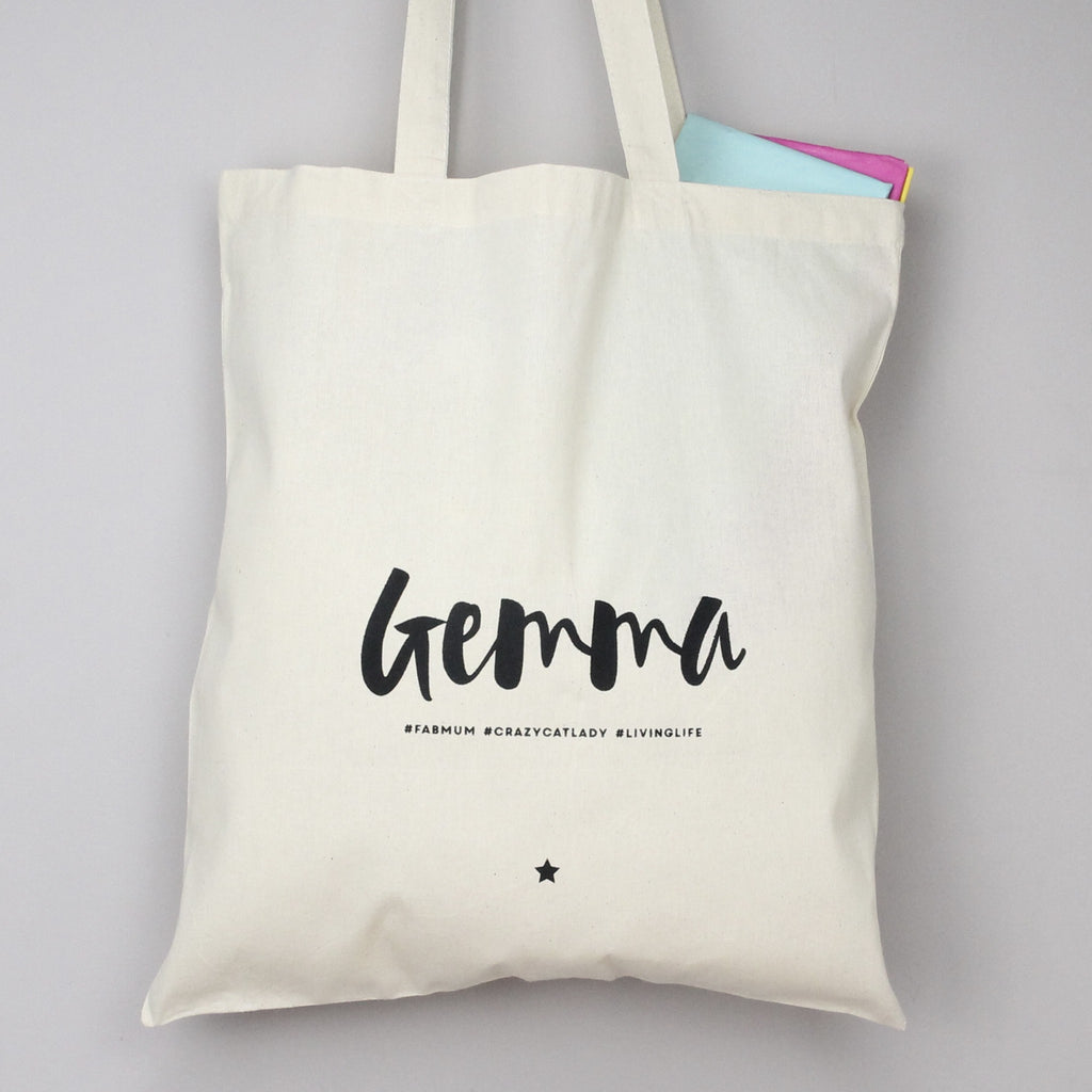 Personalised Monochrome #Hashtag Tote Bag