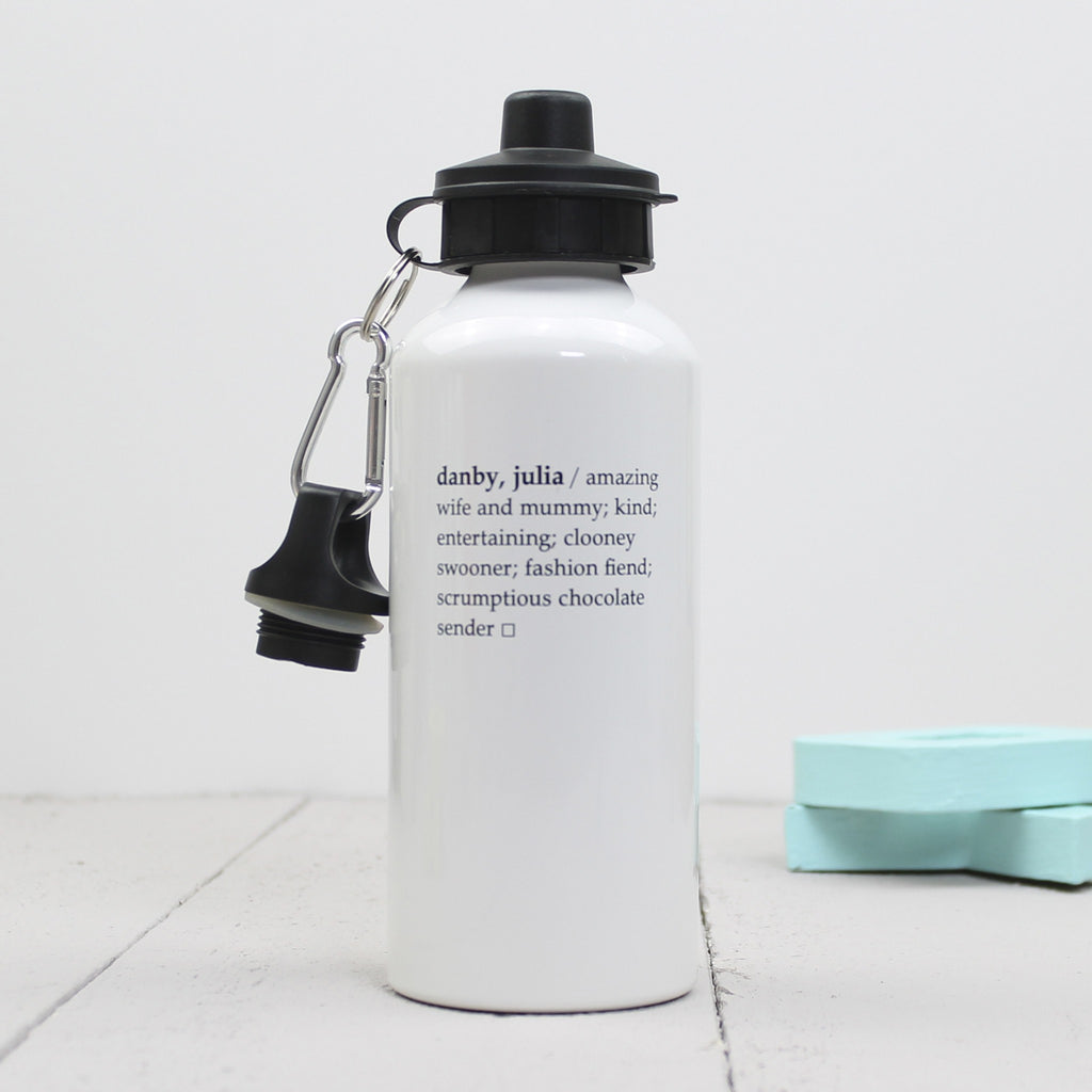 Personalised Dictionary Definition Water Bottle