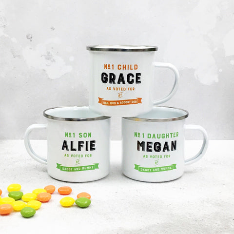 Personalised 'No.1 Child/Son/Daughter' Enamel Mug