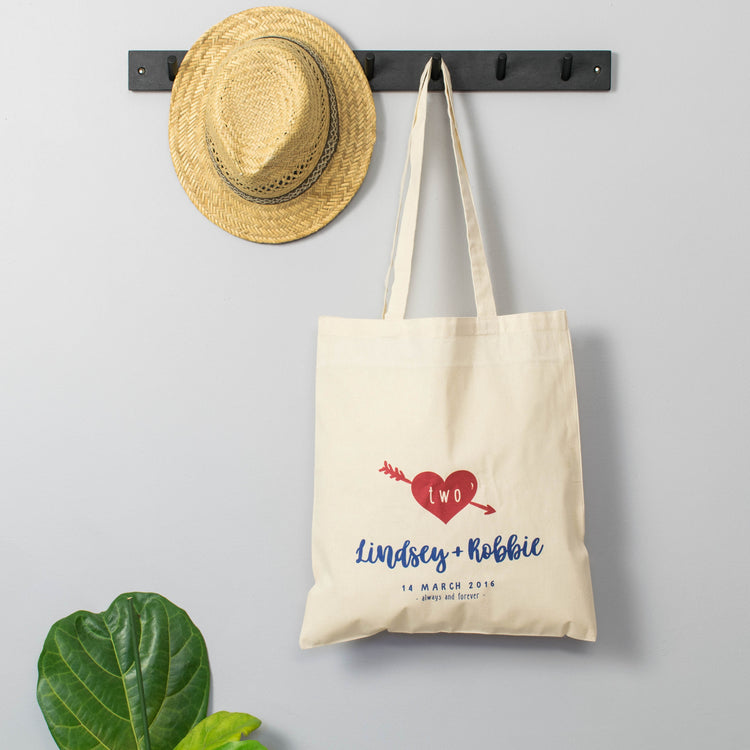 Personalised Love Heart Second Anniversary Bag