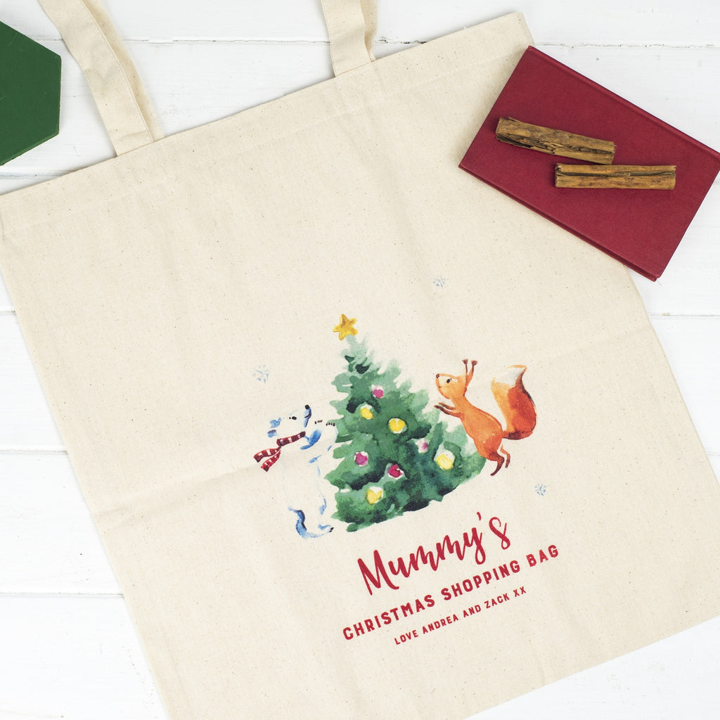 Personalised Christmas Shopping Tote Bag