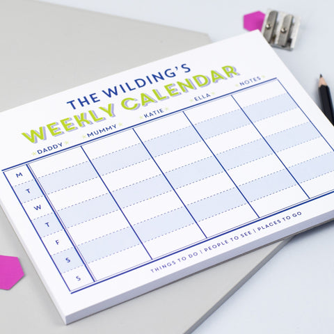 Personalised 'Family Weekly Calendar' Notepad