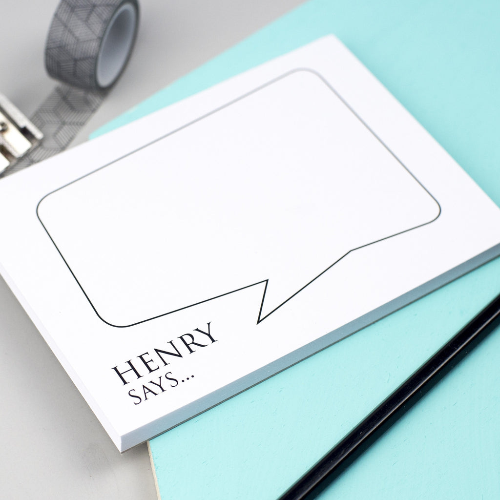 Classic Speech Bubble Personalised Notepad