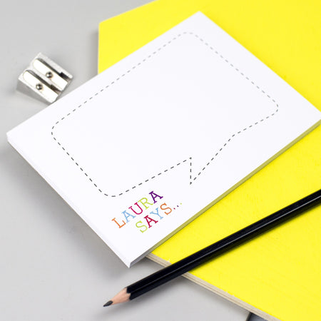 Colourful Speech Bubble Personalised Notepad