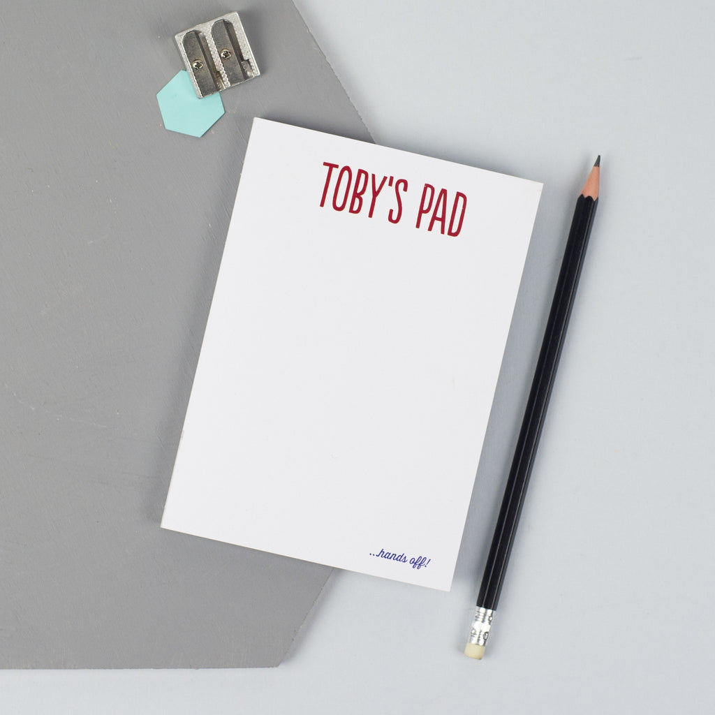 Personalised 'Hands Off' Notepad