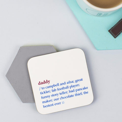 Personalised Daddy Dictionary Definition Coaster