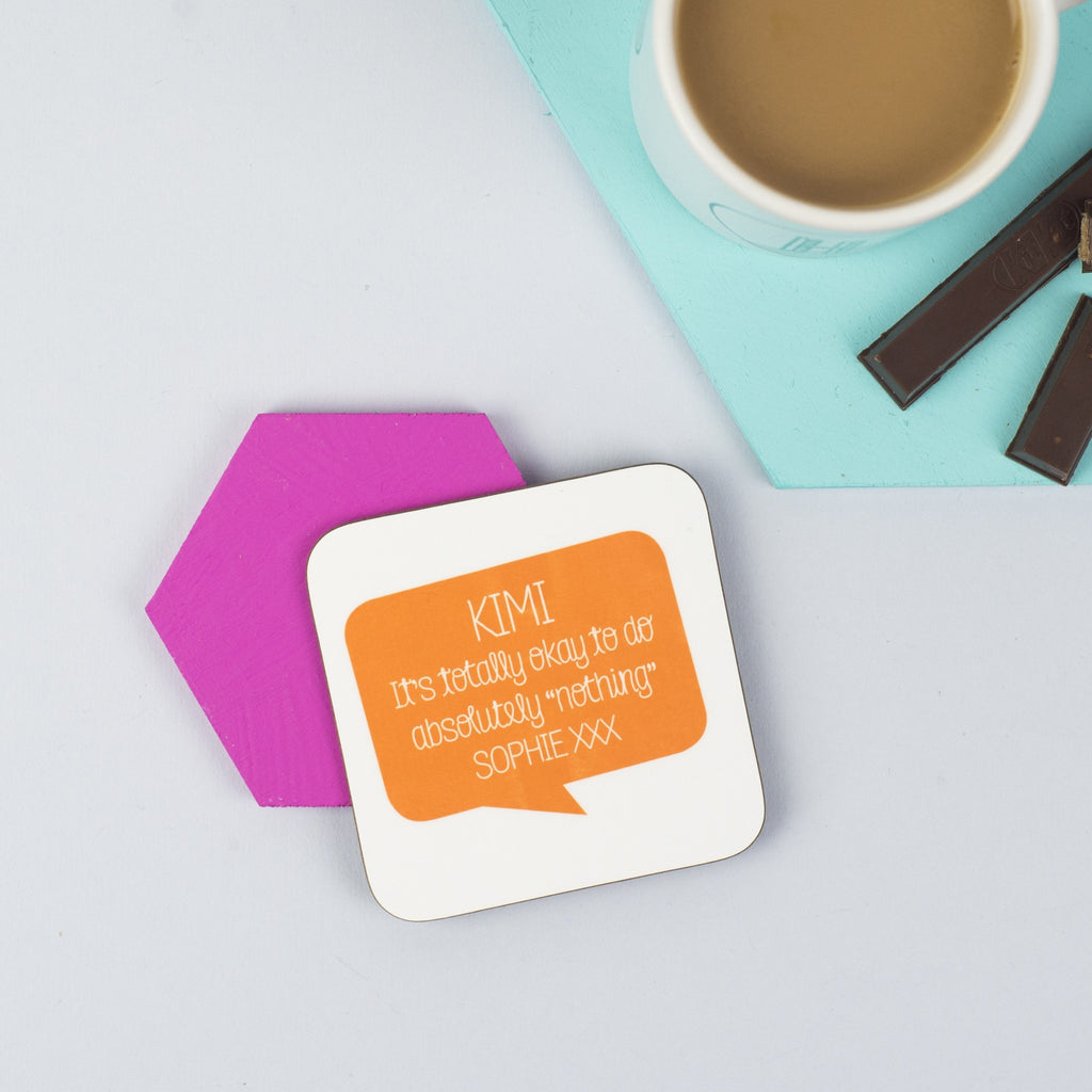Personalised Speech Bubble Positive Message Coaster