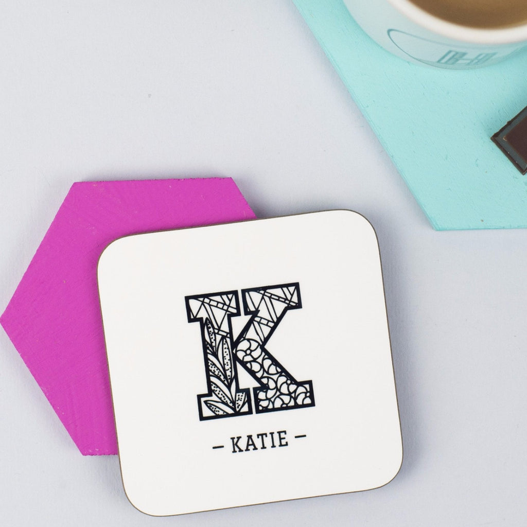 Personalised 'Zentangle' Initial Coaster