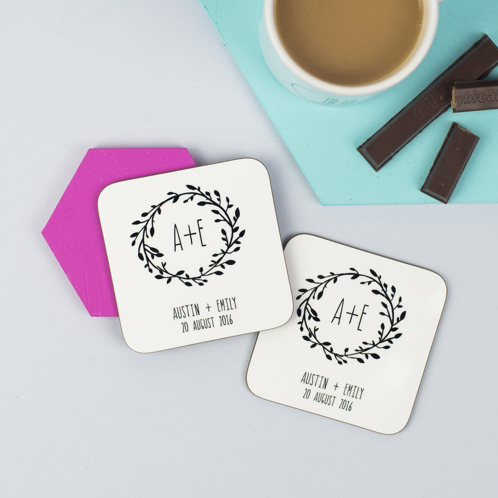 Personalised Pair Of Whimsical Style Wedding Coasters