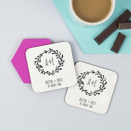Pair Of Whimsical Style Wedding Coasters