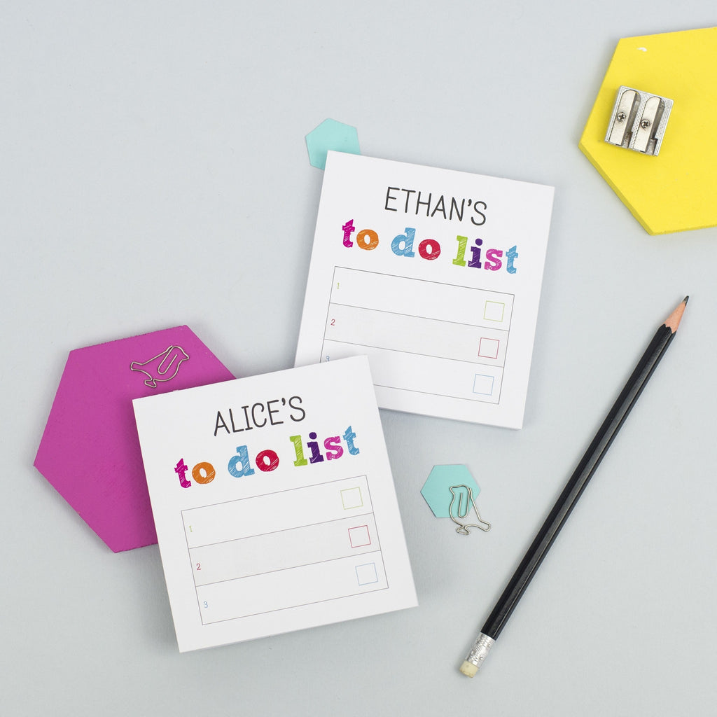 Personalised Pair Of Mini Colourful To Do List Notepads