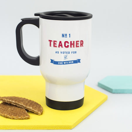 Personalised 'Number One Teacher' Travel Mug
