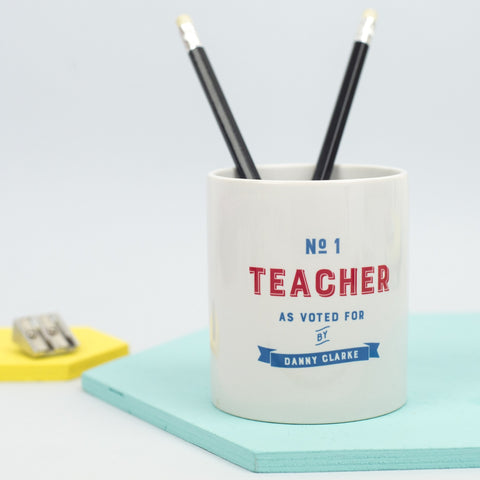 Personalised 'Number One Teacher' Desk Tidy
