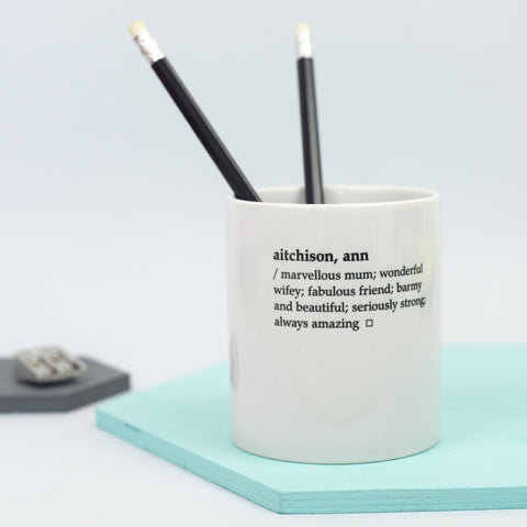 Personalised Dictionary Definition Desk Tidy