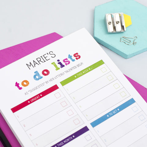 Personalised Colourful 'To Do List' Notepad A5