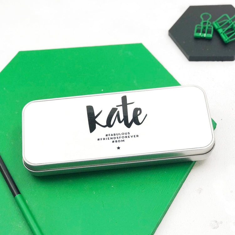 Personalised Monochrome Hashtag Pencil Tin