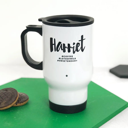 Monochrome Hashtag# Travel Mug