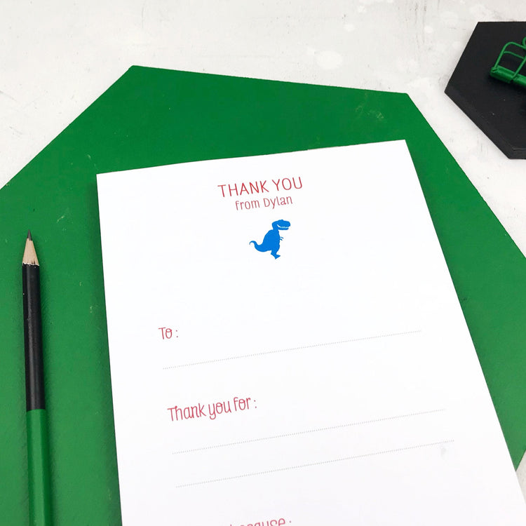 Dinosaur Thank You Notepad For Children (A5)