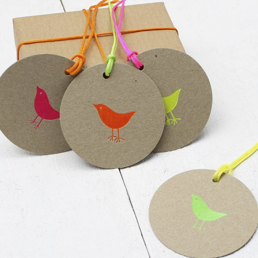 Eight Neon 'Birdy' Gift Tags