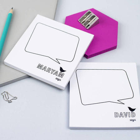 Pair Of Mini Personalised Speech Bubble Notepads