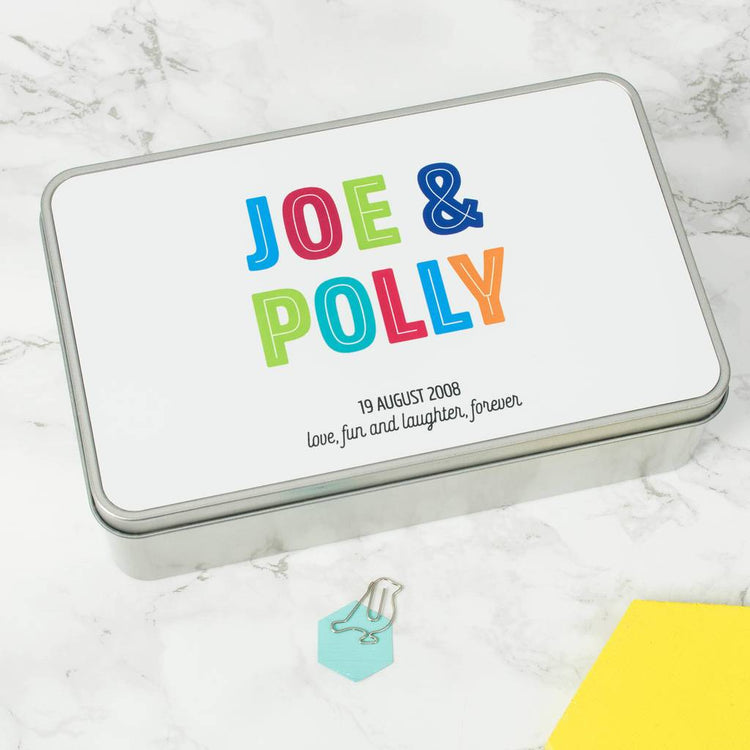 Personalised Colourful 10th Anniversary Tin