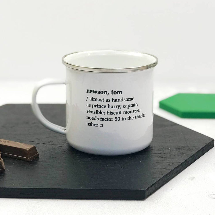 Personalised Dictionary Definition Enamel Mug