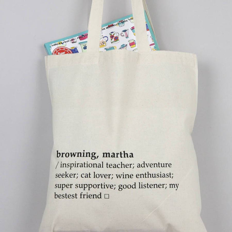 Personalised Dictionary Definition Tote Bag
