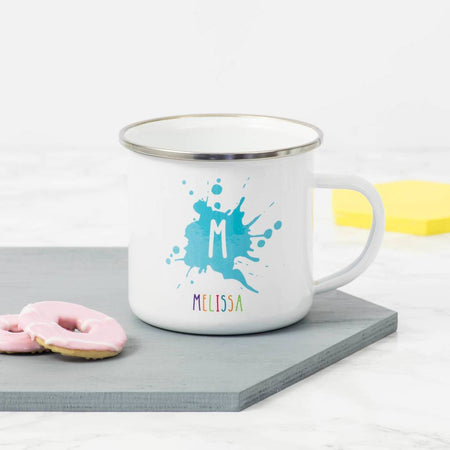 Personalised Initial And Name Enamel Mug