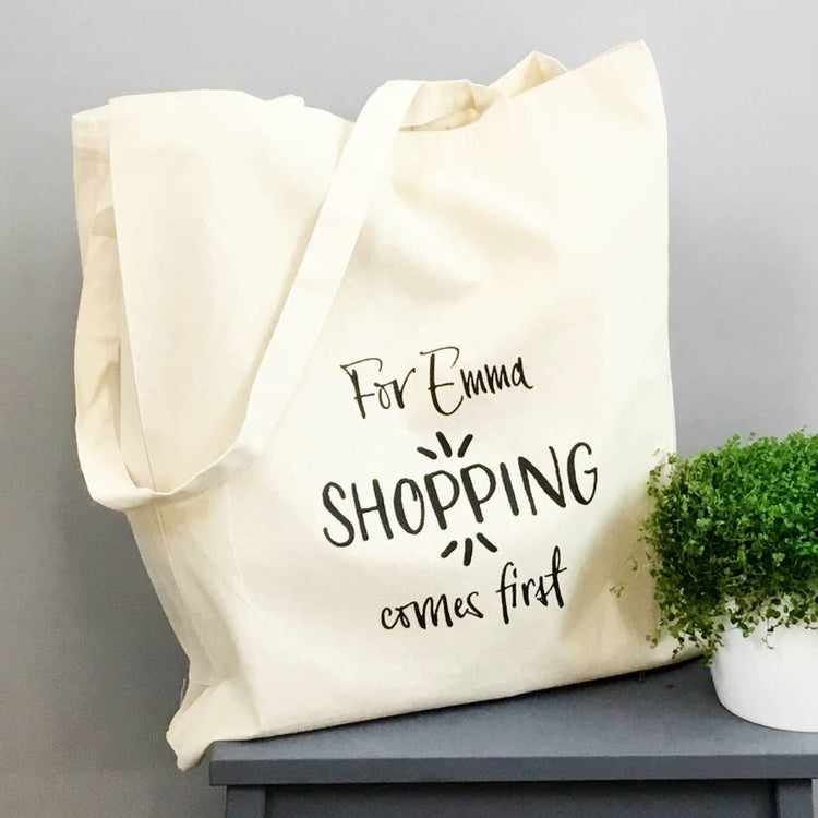 Shopping Comes First Tote Bag
